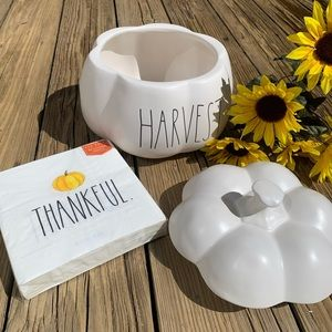 Rae Dunn Accents - New Rae Dunn Large Pumpkin Canister and Napkins